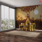 ตกแต่งห้องพระด้วยลายพระพุทธเจ้าแสดงโอวาทแก่พระสงฆ์ 1,250 รูป ในวันมาฆบูชา