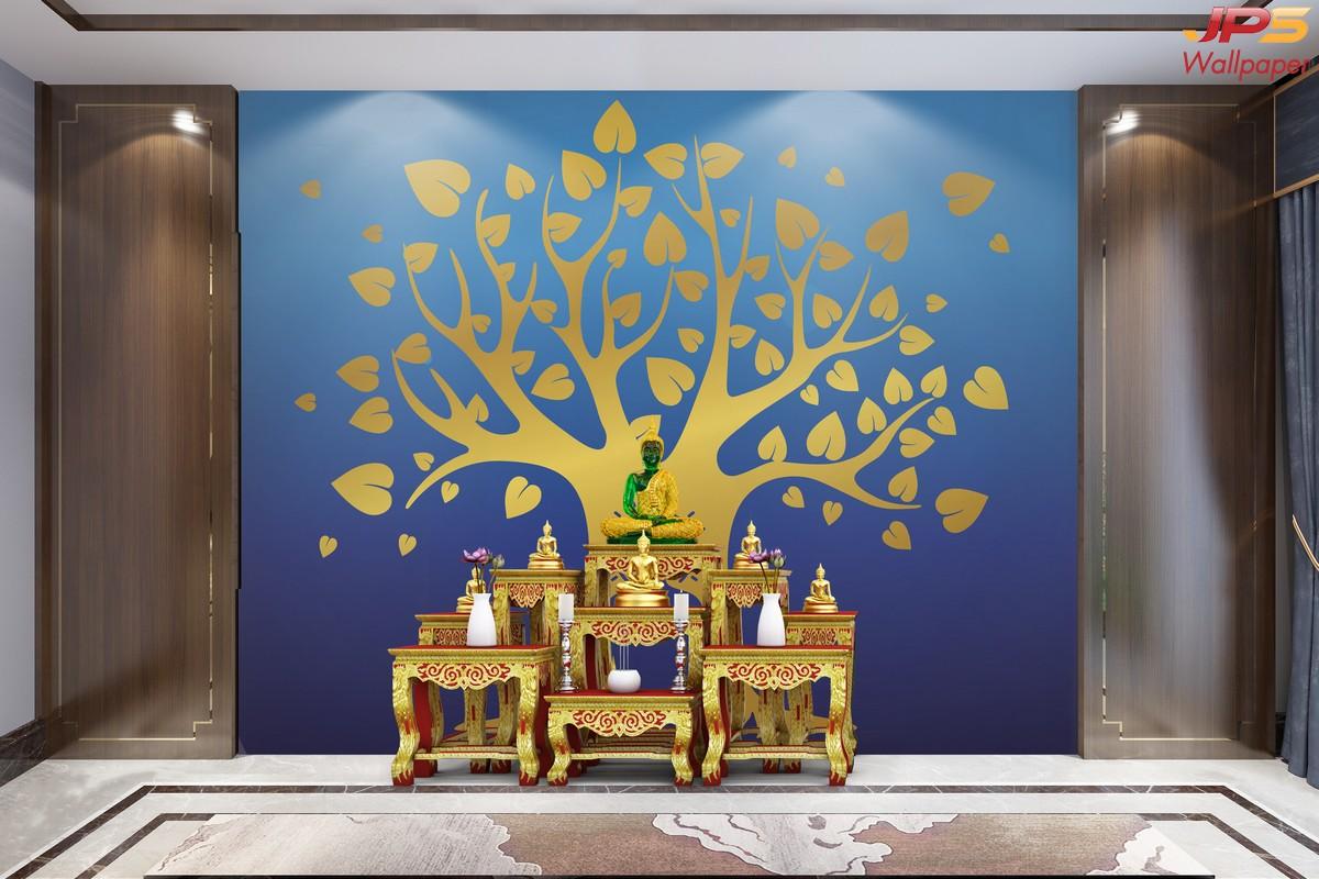 วอลเปเปอร์พิมพ์ลายต้นโพธิ์สีทอง พื้นหลังสีน้ำเงิน