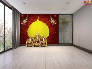 วอลเปเปอร์ใบโพธิ์ใหญ่สีเหลืองทอง พื้นหลังสีแดง ลายไทย