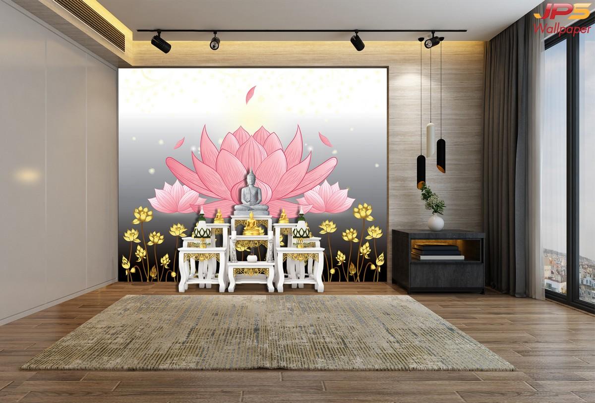 วอลเปเปอร์ลายดอกบัวใหญ่สีชมพู พื้นหลังสีขาวเทา
