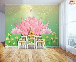สั่งพิมพ์วอลเปเปอร์ติดผนัง ตกแต่งห้องพระ ลายดอกบัวใหญ่สีชมพู พื้นหลังสีเขียว
