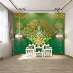 วอลเปเปอร์สั่งทำผ้าแคนวาส ลายเทพพนมกลางลายกนกสีทอง พื้นหลังสีเขียว