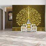 ปริ้นวอลเปเปอร์ราคาถูก ตกแต่งห้องพระ ลายต้นโพธิ์ใหญ่สีทอง พื้นหลังสีน้ำตาล