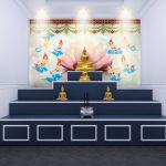 ภาพมงคลแต่งบ้าน แต่งห้องพระ วอลเปเปอร์ลายดอกบัวใหญ่สีชมพู ลายเทพพนมขี่เมฆ