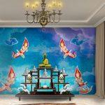 ภาพมงคลติดห้องพระ วอลเปเปอร์ลายเทพพนม 4 องค์ พื้นหลังสีน้ำเงิน