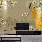 Print Wallpaper ภาพพิมพ์เสริมมงคล ลายนกยูงสีทองเกาะกิ่งไม้ แต่งห้องนั่งเล่น