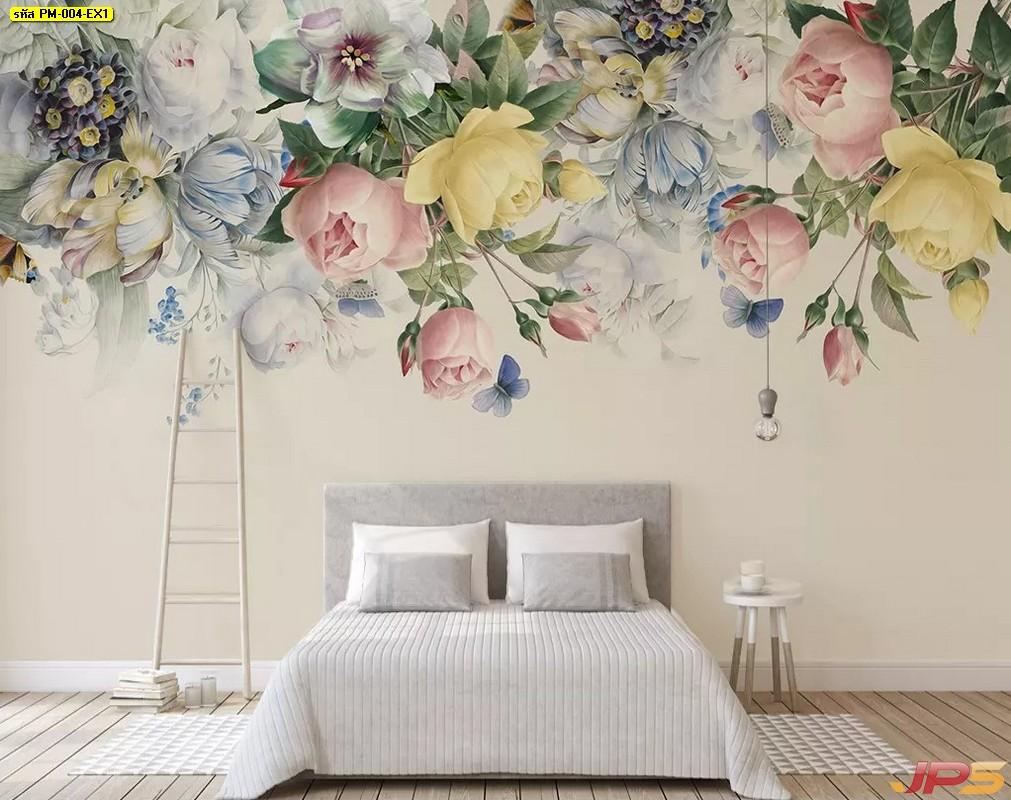 Print Wallpaper ลายดอกไม้สีพาสเทล พื้นหลังสีขาว