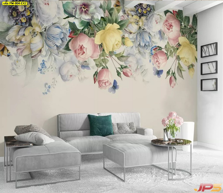 วอลเปเปอร์แบบสั่งพิมพ์ ลายดอกไม้สีพาสเทล พื้นหลังสีขาว ตกแต่งบ้าน