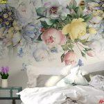 บริการพิมพ์วอลเปเปอร์ติดผนัง ลายดอกไม้ใหญ่หลากสี ตกแต่งห้องนอน