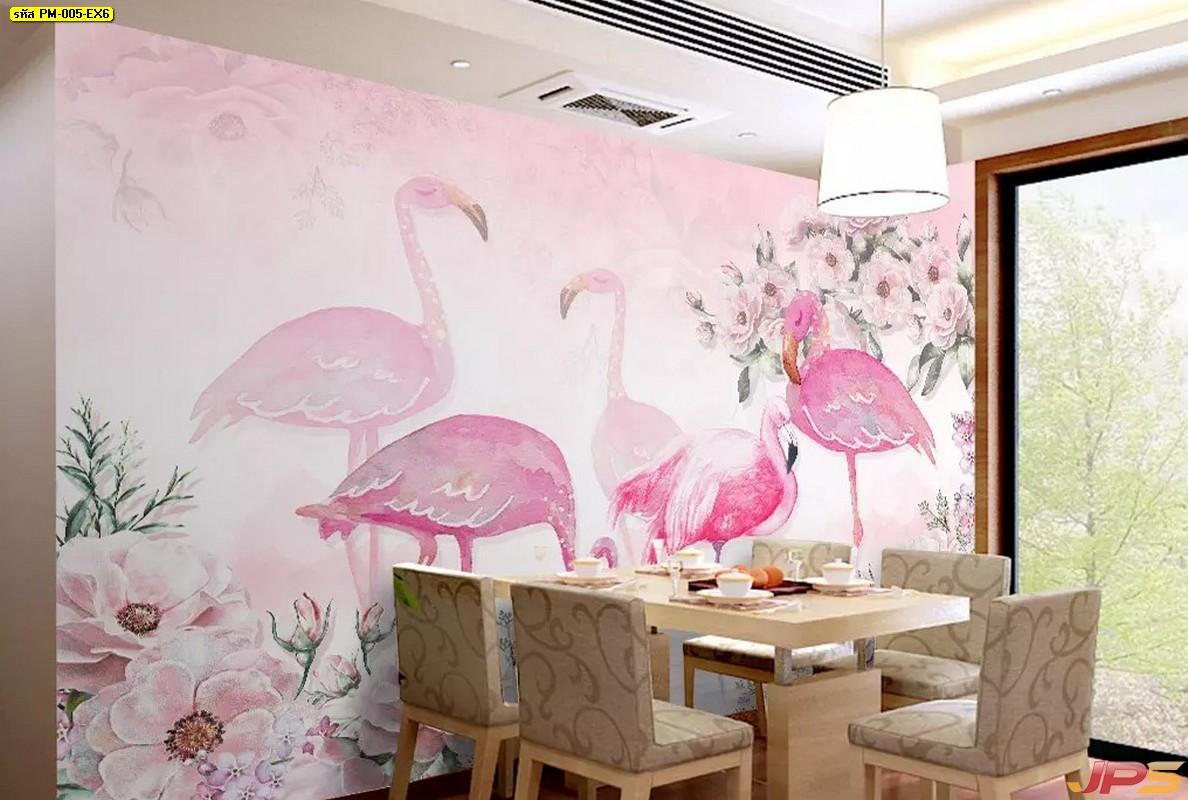 Print Wallpaper ลายฟลามิงโก ฉากหลังเป็นลายดอกไม้สีชมพู