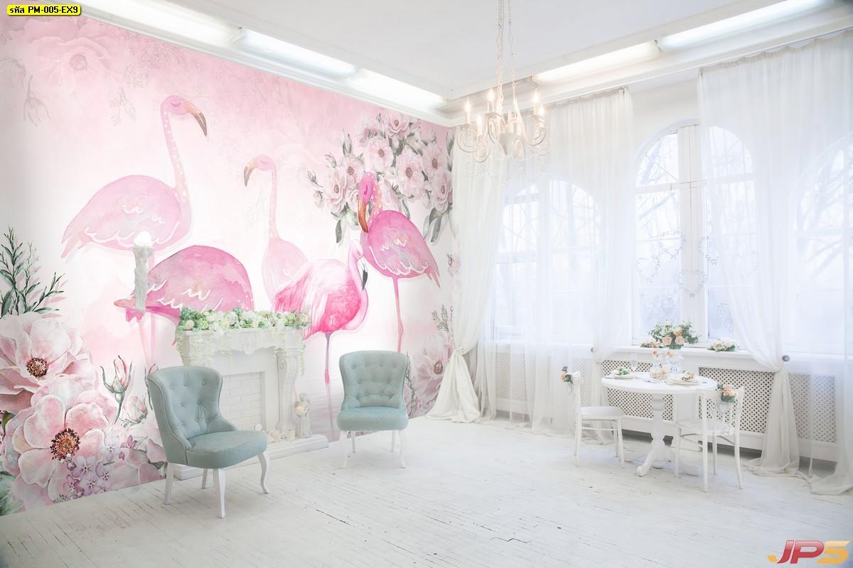 พิมพ์ภาพแคนวาส ลายฟลามิงโกสีชมพู ฉากหลังดอกไม้สวย