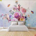 พิมพ์วอลเปเปอร์ ภาพดอกไม้หลากสี พร้อมหมู่มวลผีเสื้อและนก พื้นหลังพาสเทล ตกแต่งห้องนอน