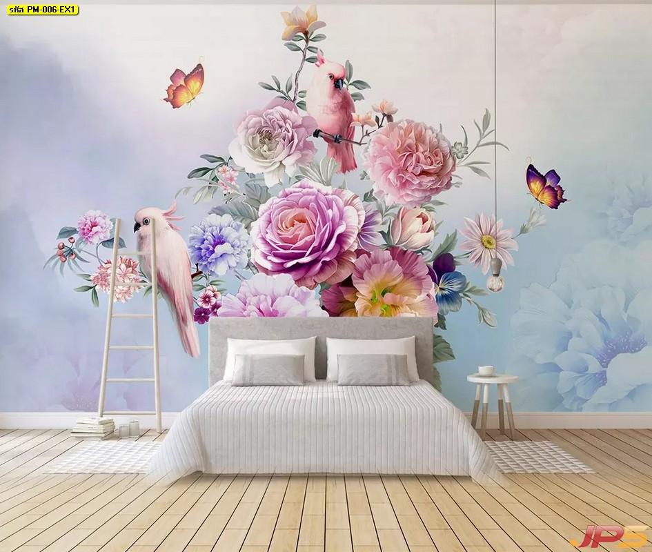 พิมพ์วอลเปเปอร์ ภาพดอกไม้หลากสี พร้อมหมู่มวลผีเสื้อและนก พื้นหลังพาสเทล