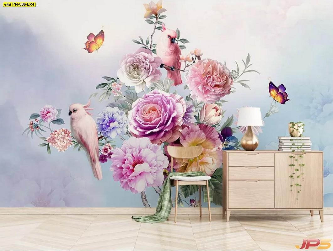 ไอเดียตกแต่งบ้าน ด้วยวอลเปเปอร์สั่งทำผ้าแคนวาส ลายสวนดอกไม้พาสเทล