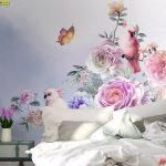 ปริ้นรูปผ้าแคนวาส วอลเปเปอร์ติดผนัง ลายสวนดอกไม้ ตกแต่งห้องนอน