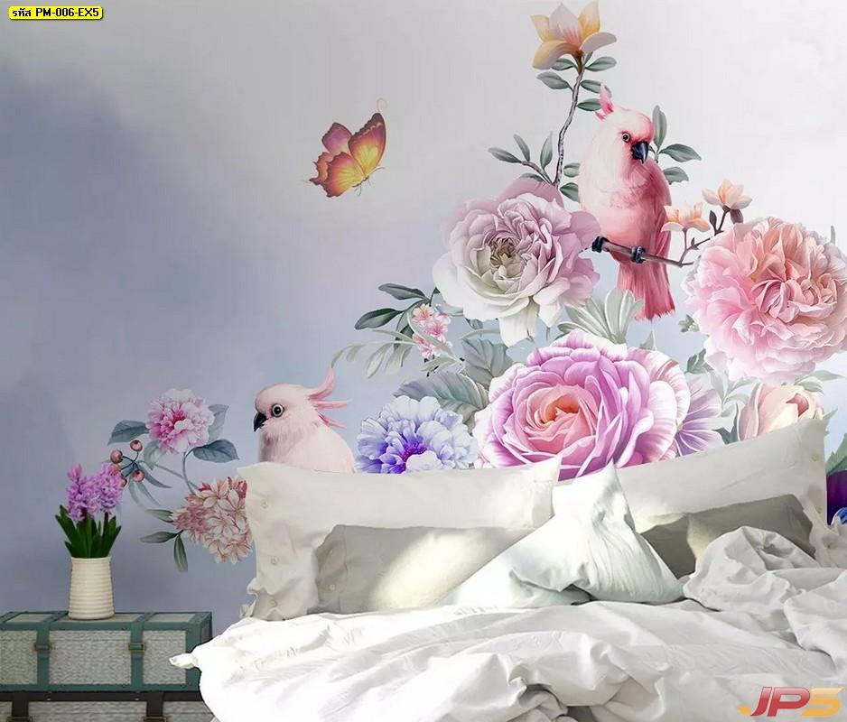 ปริ้นรูปผ้าแคนวาส วอลเปเปอร์ติดผนัง ลายสวนดอกไม้