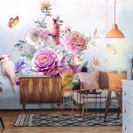 วอลเปเปอร์สั่งทำผ้าซาติน ลายนกเกาะดอกไม้หลากสี ตกแต่งห้องรับแขก