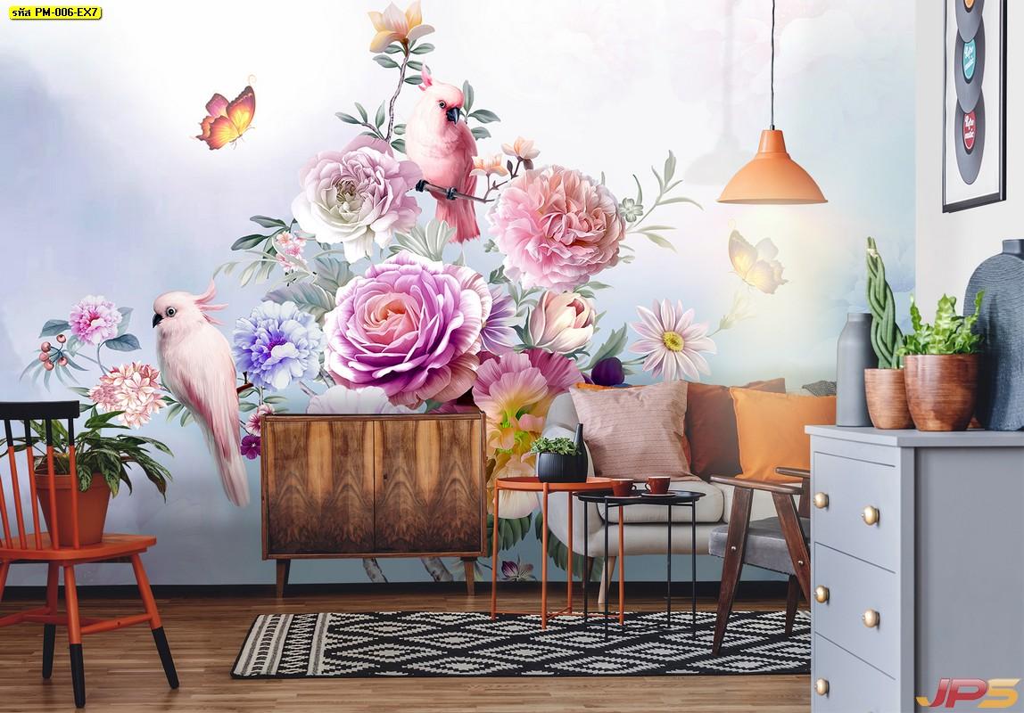 วอลเปเปอร์สั่งทำผ้าซาติน ลายนกเกาะดอกไม้หลากสี