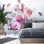 วอลเปเปอร์สั่งพิมพ์ตามขนาด ลายสวนดอกไม้หลากสี ตกแต่งห้องนอน