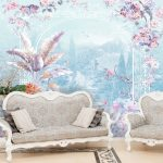 Print Wallpaper ลายซุ้มดอกไม้หลากสี พื้นหลังสีฟ้า ตกแต่งบ้าน