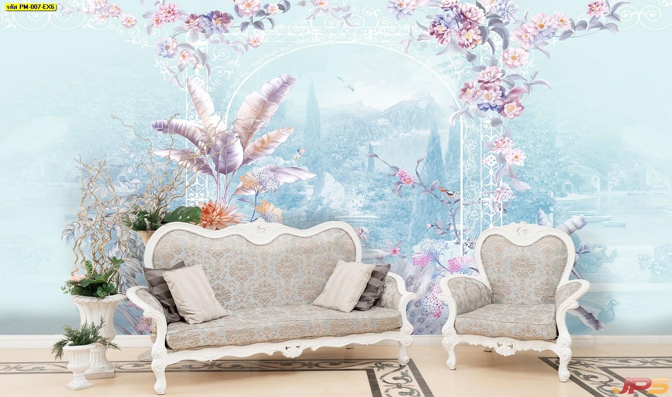 Print Wallpaper ลายซุ้มดอกไม้หลากสี พื้นหลังสีฟ้า