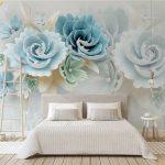 วอลเปเปอร์แบบสั่งพิมพ์ ลายดอกไม้ใหญ่สีฟ้า พื้นหลังสีขาว ตกแต่งห้องนอน