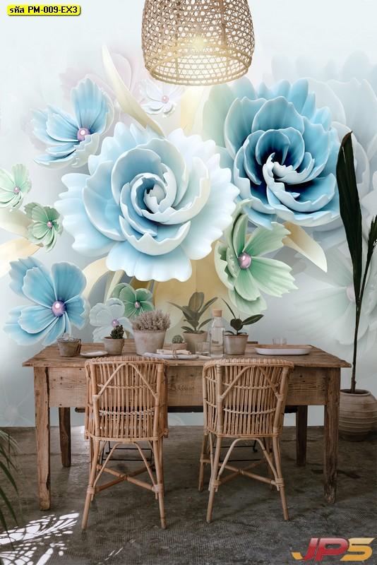 ปริ้นผ้าcanvas ลายดอกไม้หลากสี พื้นหลังสีขาว