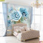 ขายภาพพิมพ์แคนวาส ลายดอกไม้หลากสี โทนสีสว่าง ตกแต่งห้องนอน