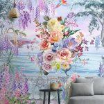 Print Wallpaper ลายดอกไม้หลากสีริมทะเล ตกแต่งห้องนั่งเล่น