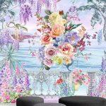 สั่งพิมพ์วอลเปเปอร์ติดผนัง ลายดอกไม้หลากสีริมทะเล ตกแต่งห้องนั่งเล่น
