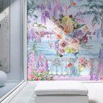 วอลเปเปอร์สั่งทำผ้าแคนวาส ลายดอกไม้หลากสีริมทะเล ตกแต่งบ้าน