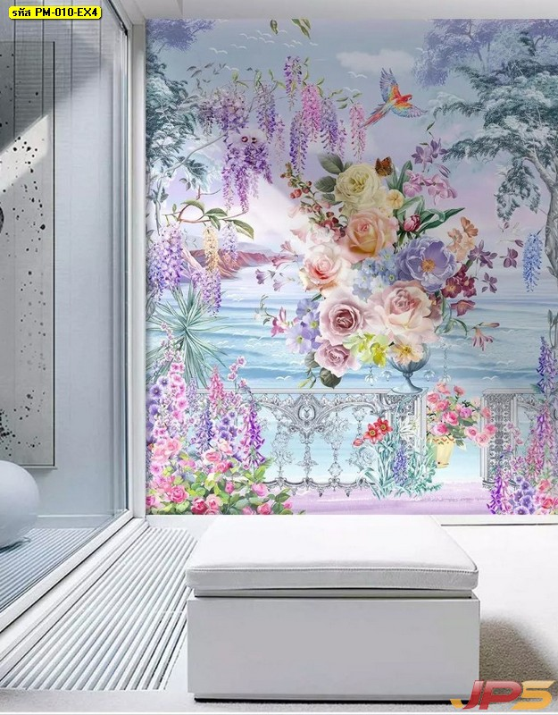 วอลเปเปอร์สั่งทำผ้าแคนวาส ลายดอกไม้หลากสีริมทะเล