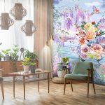 วอลเปเปอร์สั่งพิมพ์ตามแบบ ลายดอกไม้หลายสีริมทะเล ตกแต่งห้องนั่งเล่น
