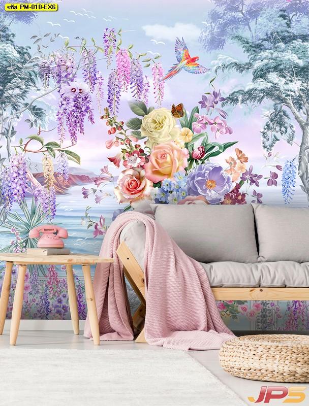 ขายภาพพิมพ์แคนวาส ตกแต่งห้องนั่งเล่น ด้วยวอลเปเปอร์ลายดอกไม้ริมทะเล