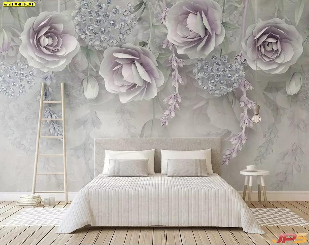 วอลเปเปอร์หมึกกันน้ำ ภาพวาดลายดอกกุหลาบสีม่วง พื้นหลังสีขาวเทา