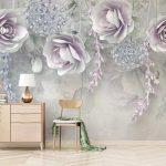 ภาพพิมพ์แคนวาส ลายภาพวาดดอกกุหลาบสีม่วง พื้นหลังสีขาวเทา ตกแต่งบ้าน
