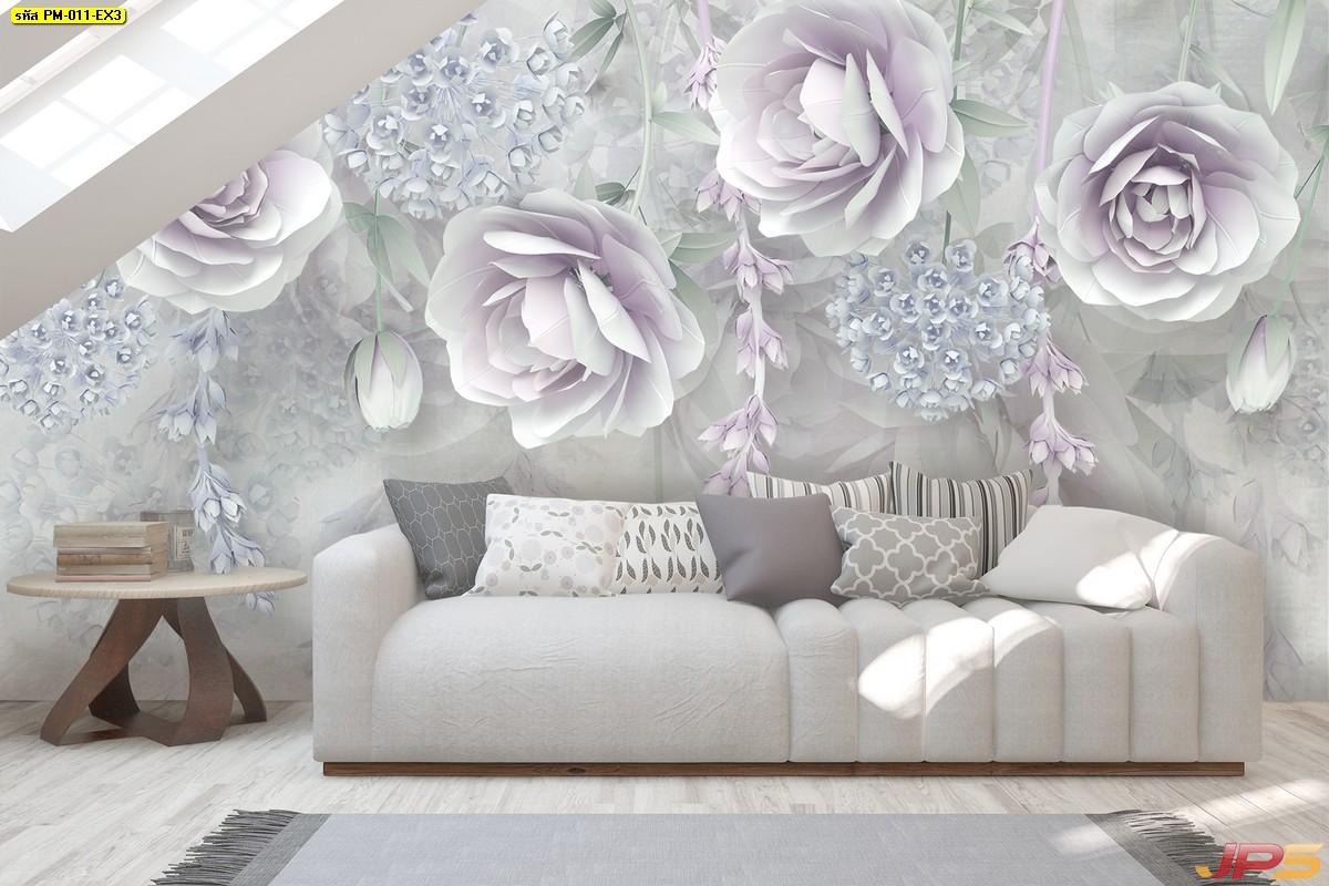 วอลเปเปอร์สั่งพิมพ์ราคาถูก ลายภาพวาดดอกกุหลาบสีม่วง พื้นหลังสีขาวเทา