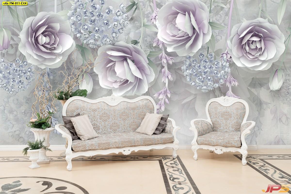 ทางร้านรับทำวอลเปเปอร์สั่งพิมพ์ ลายภาพวาดดอกกุหลาบสีม่วง พื้นหลังสีขาวเทา