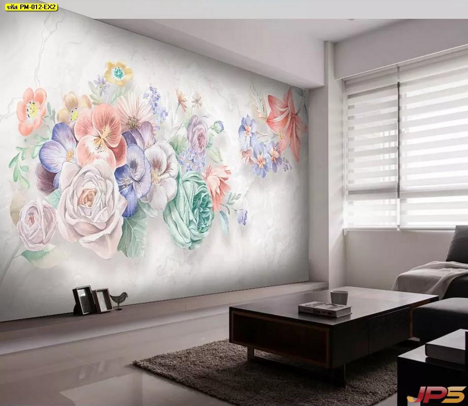 รับทําวอลเปเปอร์ตามสั่ง ลายภาพวาดดอกไม้โทนสีพาสเทล พื้นหลังสีเทา