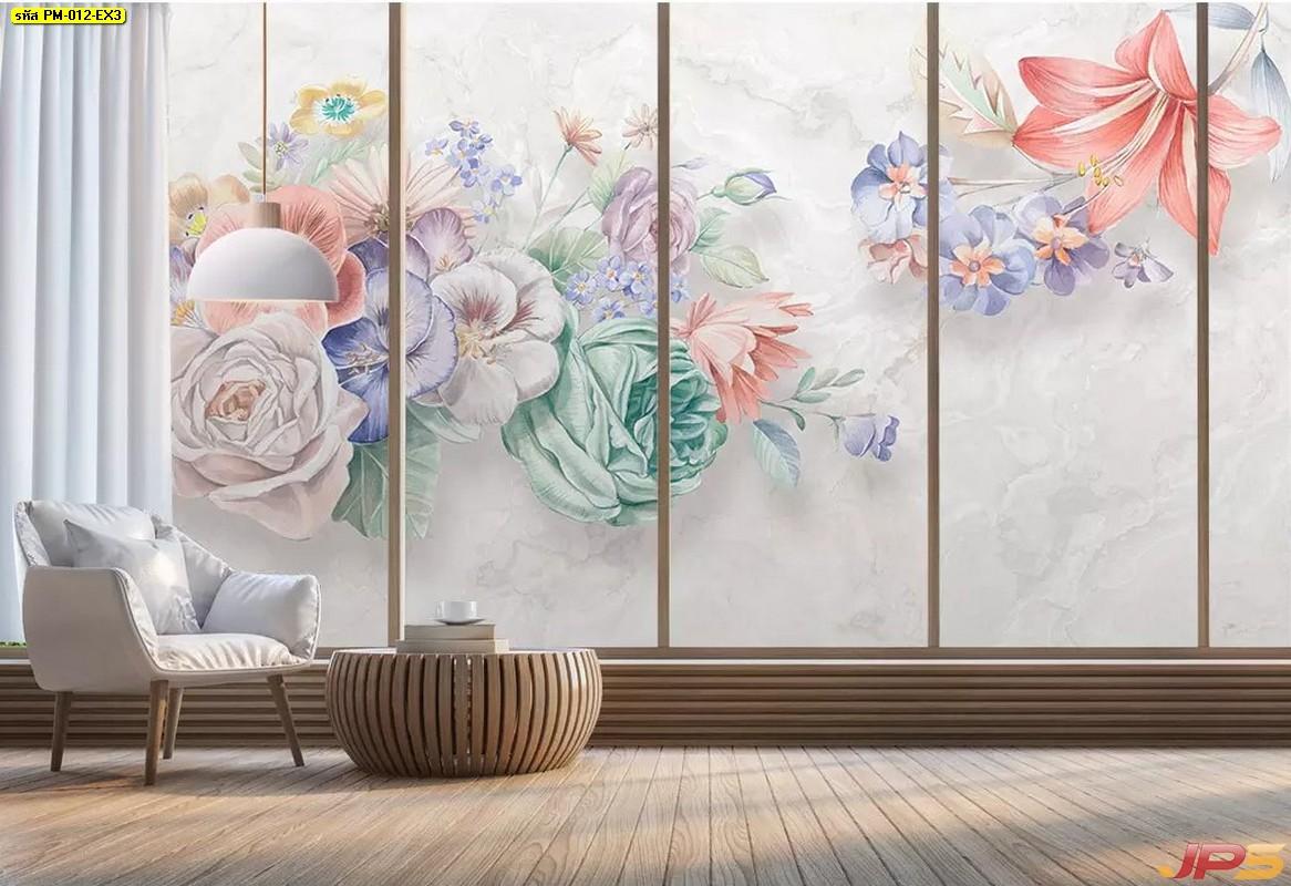 วอลเปเปอร์สั่งพิมพ์ตามขนาด ลายภาพวาดดอกไม้โทนสีพาสเทล พื้นหลังสีเทา