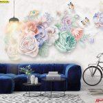 ภาพพิมพ์แคนวาส ลายดอกไม้หลากสี พื้นหลังสีเทา ตกแต่งห้องนั่งเล่น