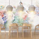 บริการพิมพ์ภาพแคนวาส ลายภาพวาดดอกไม้หลากสีโทนพาสเทล พื้นหลังสีเทา ตกแต่งห้องนั่งเล่น