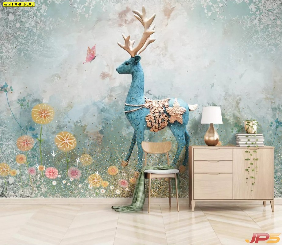 Print วอลเปเปอร์ ลายภาพวาดกวางป่ากลางสวนดอกไม้