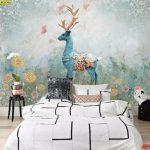 ภาพพิมพ์แคนวาส วอลเปเปอร์ลายกวางป่าสีฟ้ากลางสวนดอกไม้ ตกแต่งห้องนอน
