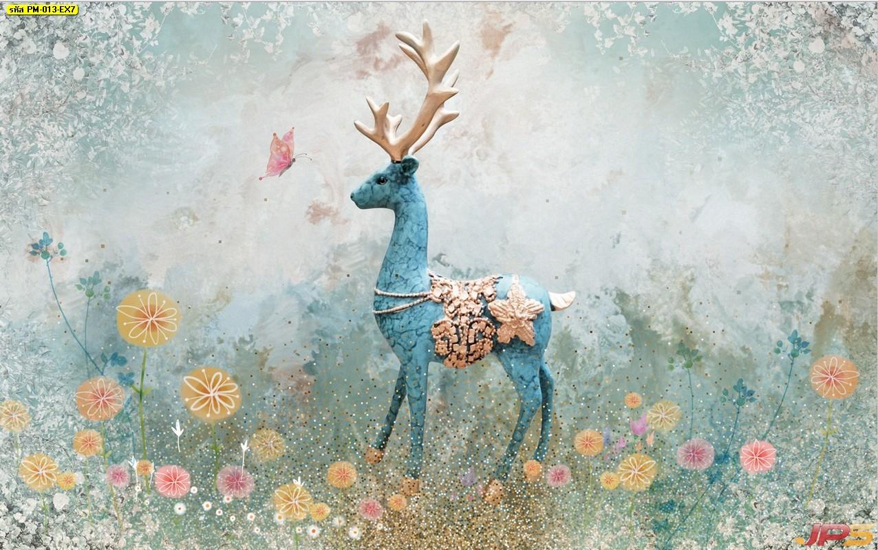 วอลเปเปอร์สั่งพิมพ์ราคาถูก ลายกวางป่าสีฟ้า กลางสวนดอกไม้