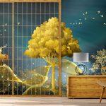 บริการพิมพ์ภาพแคนวาส วอลเปเปอร์ลายต้นไม้และกวางสีทอง ตกแต่งบ้าน