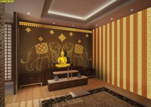 วอลเปเปอร์ลายช้างคู่สีทอง ลายไทยประกอบ พื้นหลังสีน้ำตาล