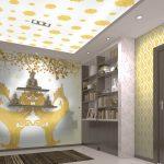 ทางร้านรับทำวอลเปเปอร์สั่งพิมพ์ ลายหงษ์คู่สีทอง ทรงสวยสง่างาม พื้นหลังสีขาวครีม