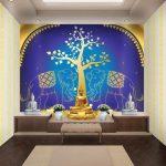 ขายภาพพิมพ์แคนวาส ลายช้างคู่ ใต้ต้นโพธิ์สีทอง พื้นหลังสีน้ำเงิน