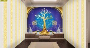 ภาพพิมพ์แคนวาส ลายช้างคู่ ใต้ต้นโพธิ์สีทอง พื้นหลังสีน้ำเงิน